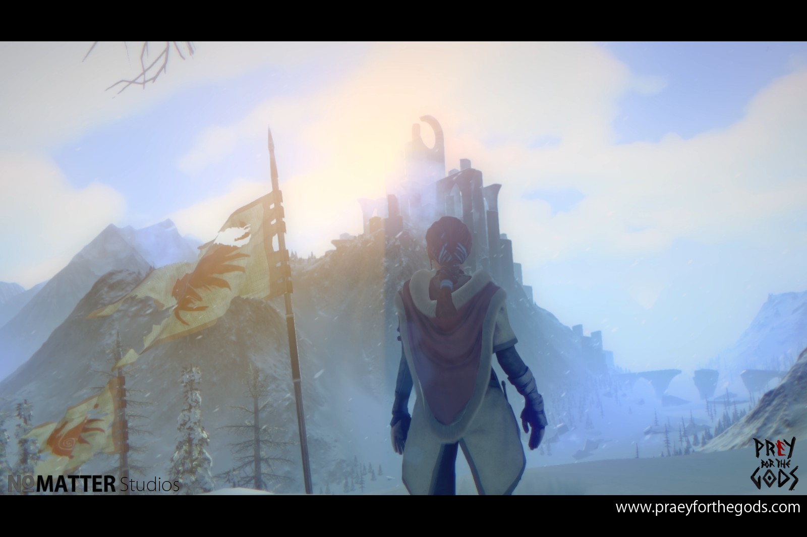A third-person view of the game's protagonist looking toward a towering structure in the distance.