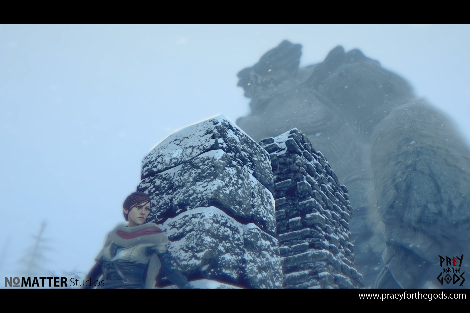 The game's protagonist hides behind a stone pillar as a massive creature looms in the background.
