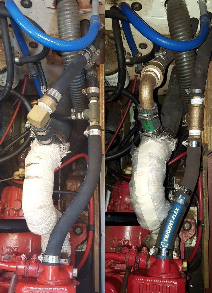 A side-by-side image showing hoses inside an engine box before and after replacement.