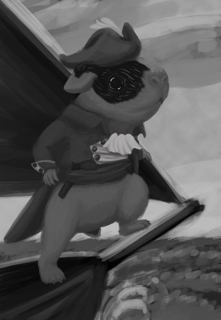 A guinea pig standing on the bow of a ship with a tricorn and fancy coat.